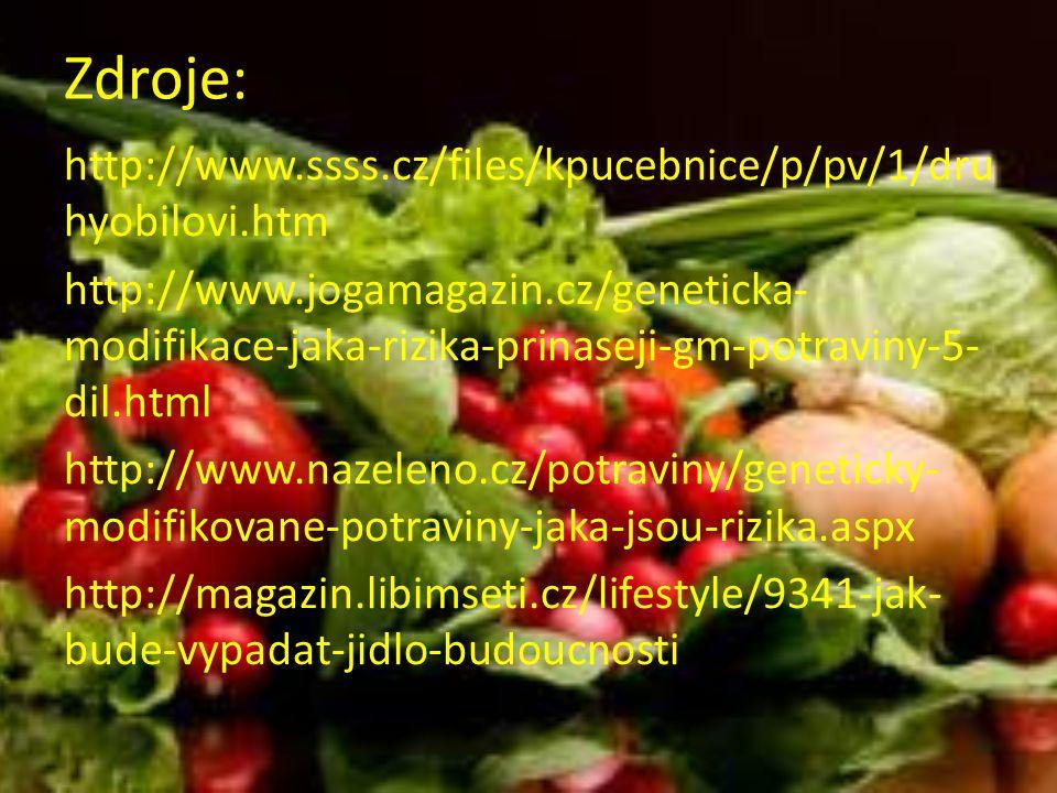 Zdroje: http://www.ssss.cz/files/kpucebnice/p/pv/1/dru hyobilovi.htm http://www.jogamagazin.cz/geneticka- modifikace-jaka-rizika-prinaseji-gm-potraviny-5- dil.html http://www.nazeleno.cz/potraviny/geneticky- modifikovane-potraviny-jaka-jsou-rizika.aspx http://magazin.libimseti.cz/lifestyle/9341-jak- bude-vypadat-jidlo-budoucnosti