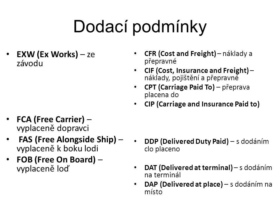 Dodací podmínky EXW (Ex Works) – ze závodu FCA (Free Carrier) – vyplaceně dopravci FAS (Free Alongside Ship) – vyplaceně k boku lodi FOB (Free On Board) – vyplaceně loď CFR (Cost and Freight) – náklady a přepravné CIF (Cost, Insurance and Freight) – náklady, pojištění a přepravné CPT (Carriage Paid To) – přeprava placena do CIP (Carriage and Insurance Paid to) DDP (Delivered Duty Paid) – s dodáním clo placeno DAT (Delivered at terminal) – s dodáním na terminál DAP (Delivered at place) – s dodáním na místo