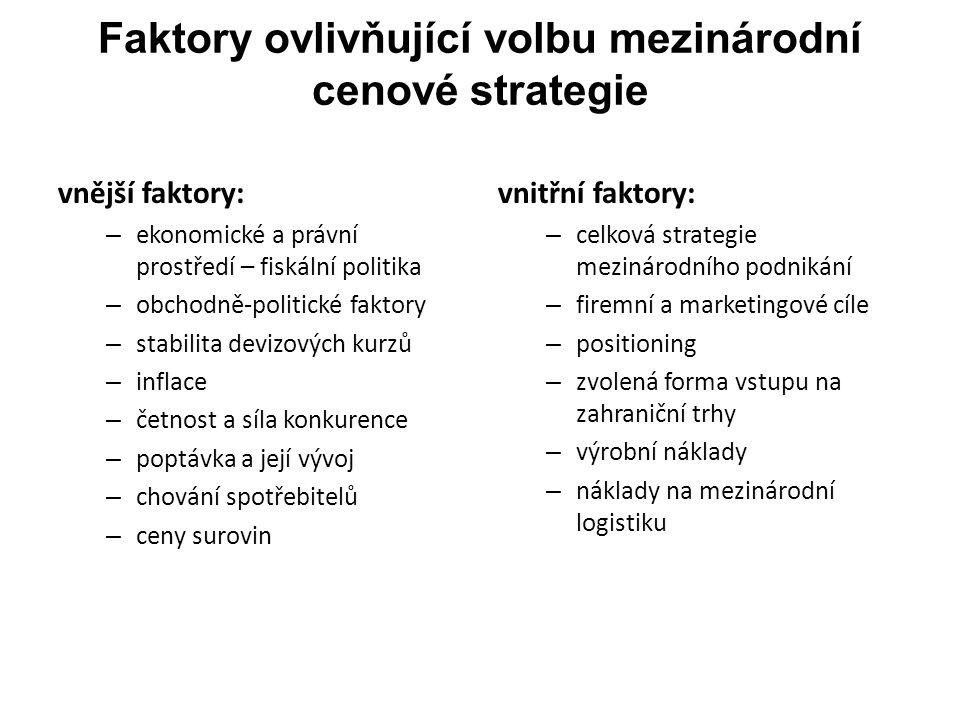 Stanovení strategických cenových cílů podniku Základní struktura cílů bývá obvykle následující: 1.