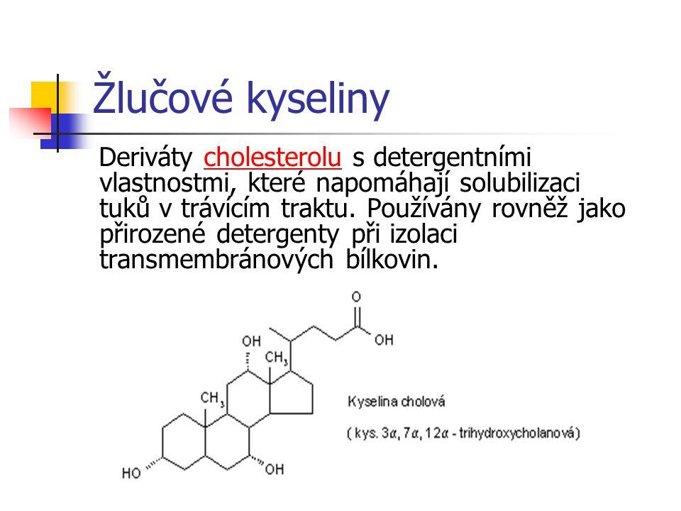 Žlučové kyseliny Deriváty cholesterolu s detergentními vlastnostmi, které napomáhají solubilizaci tuků v trávícím traktu.