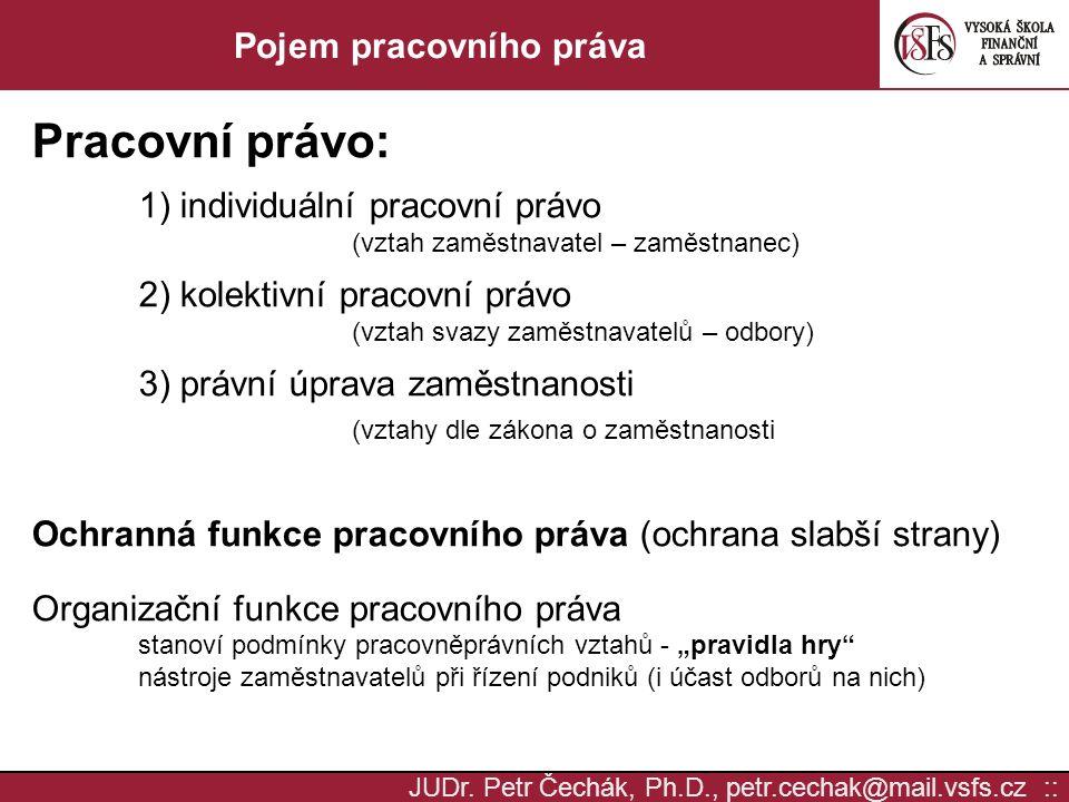 JUDr. Petr Čechák, Ph.D., petr.cechak@mail.vsfs.cz :: Pojem pracovního práva Pracovní právo: 1) individuální pracovní právo (vztah zaměstnavatel – zam