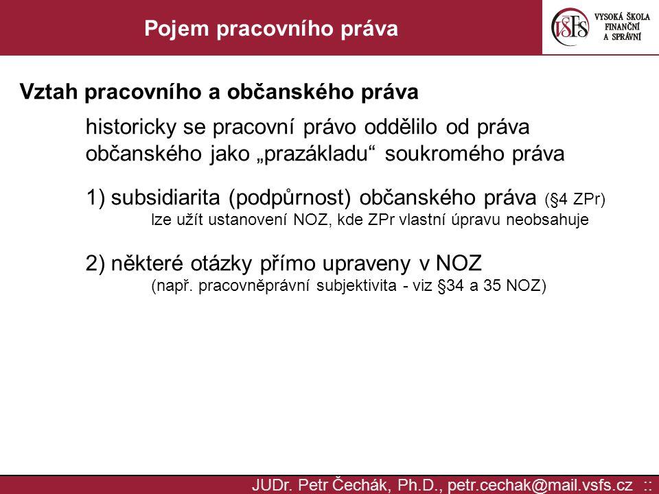 JUDr. Petr Čechák, Ph.D., petr.cechak@mail.vsfs.cz :: Pojem pracovního práva Vztah pracovního a občanského práva historicky se pracovní právo oddělilo
