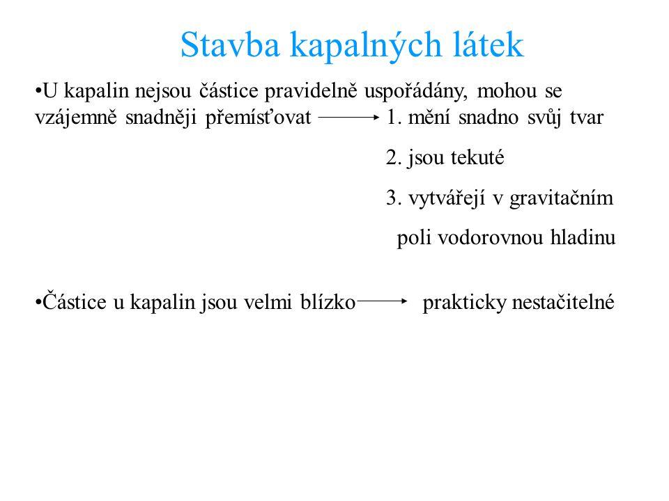 Stavba kapalných látek U kapalin nejsou částice pravidelně uspořádány, mohou se vzájemně snadněji přemísťovat 1.