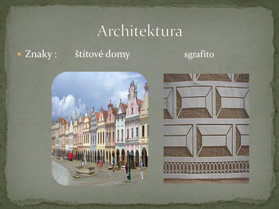 Znaky : štítové domy sgrafito
