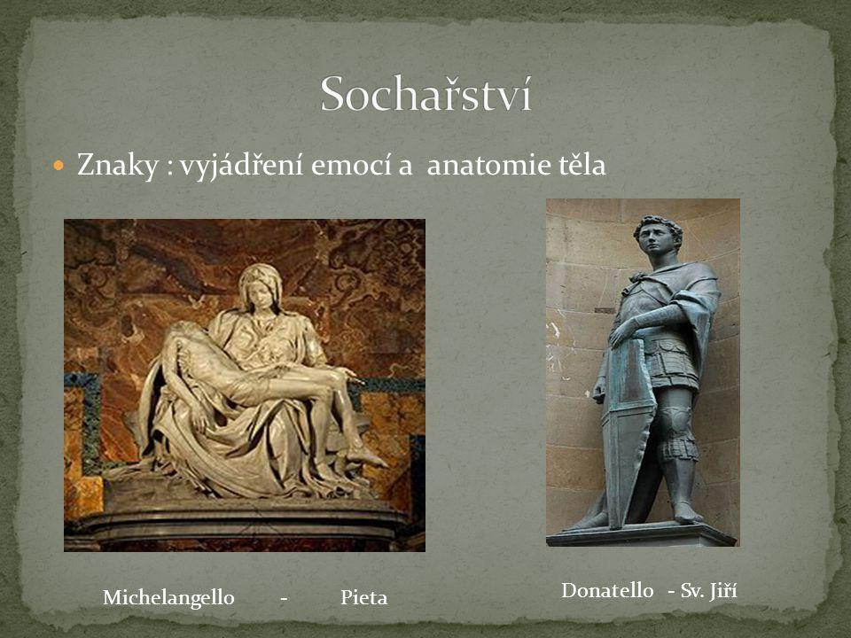 Znaky : vyjádření emocí a anatomie těla Michelangello - Pieta Donatello - Sv. Jiří