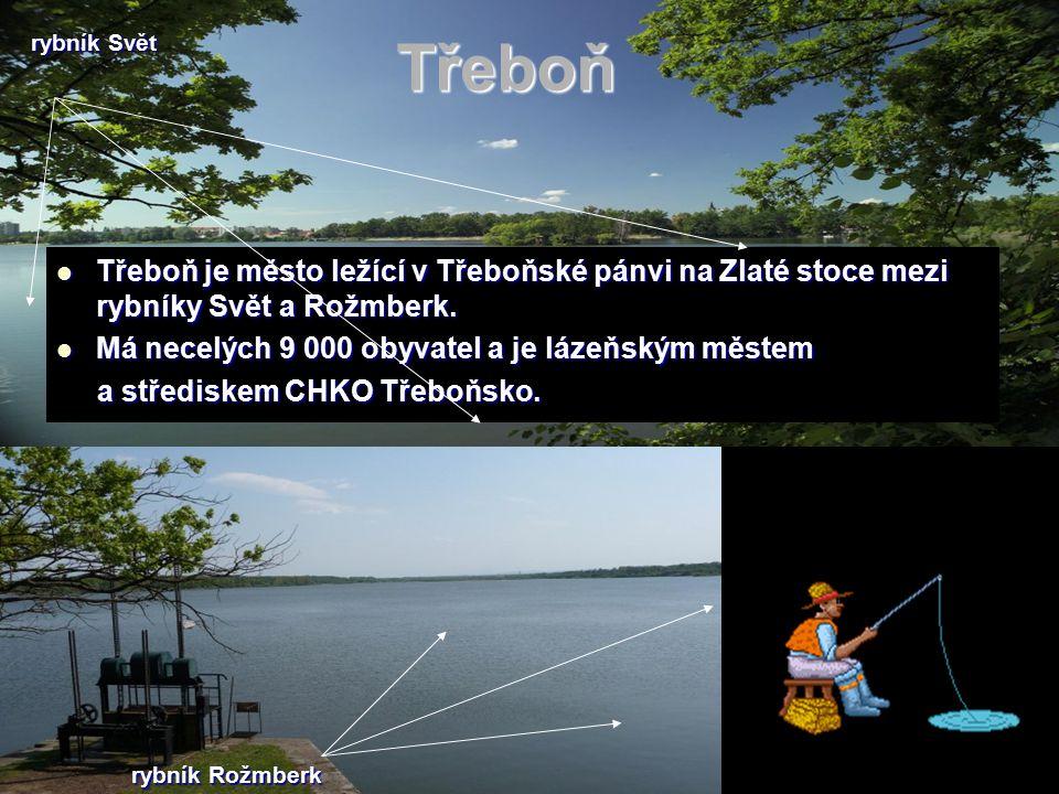 Třeboň Třeboň je město ležící v Třeboňské pánvi na Zlaté stoce mezi rybníky Svět a Rožmberk. Třeboň je město ležící v Třeboňské pánvi na Zlaté stoce m
