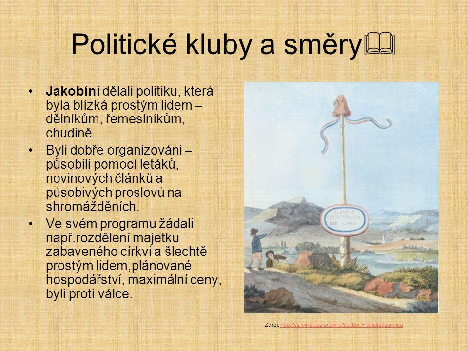 Politické kluby a směry  Jakobíni dělali politiku, která byla blízká prostým lidem – dělníkům, řemeslníkům, chudině. Byli dobře organizováni – působi