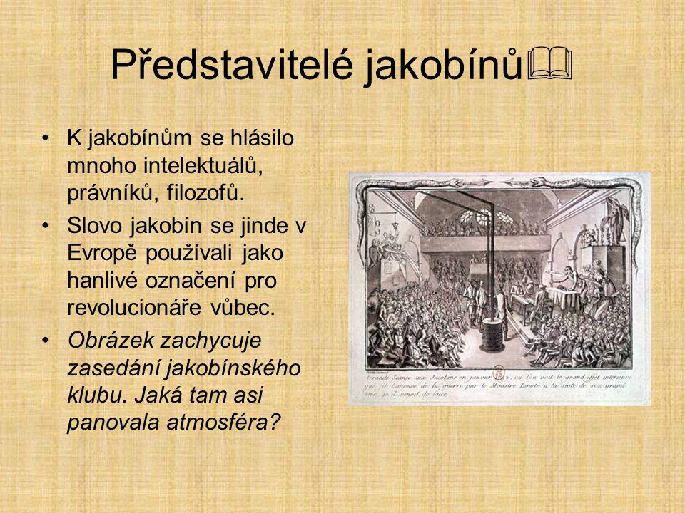 Představitelé jakobínů  K jakobínům se hlásilo mnoho intelektuálů, právníků, filozofů. Slovo jakobín se jinde v Evropě používali jako hanlivé označen