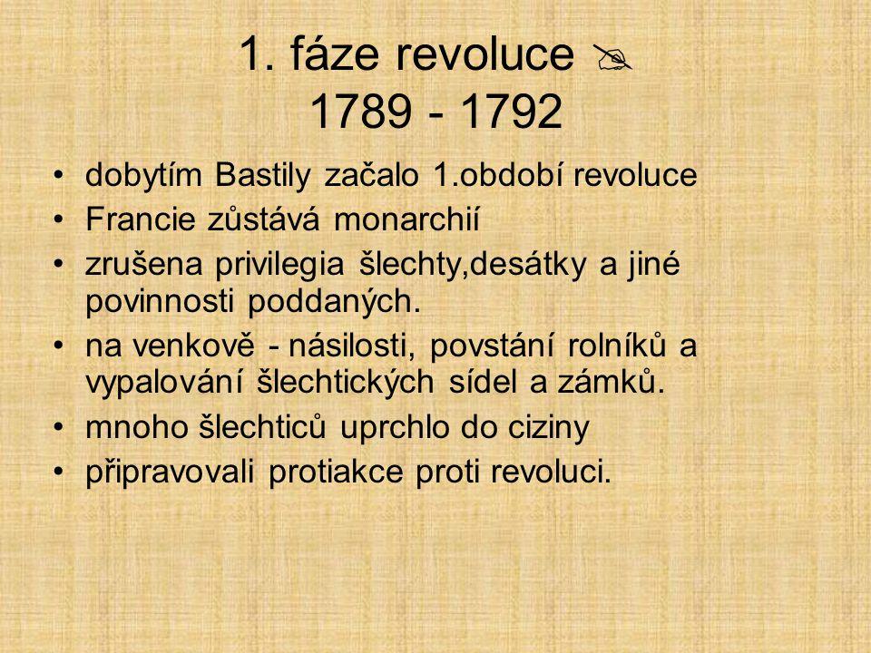 1. fáze revoluce  1789 - 1792 dobytím Bastily začalo 1.období revoluce Francie zůstává monarchií zrušena privilegia šlechty,desátky a jiné povinnosti