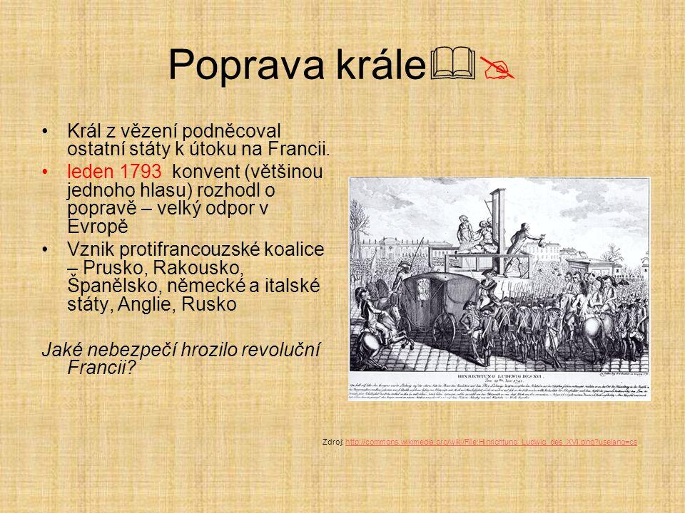 Poprava krále  Král z vězení podněcoval ostatní státy k útoku na Francii. leden 1793 konvent (většinou jednoho hlasu) rozhodl o popravě – velký odpo