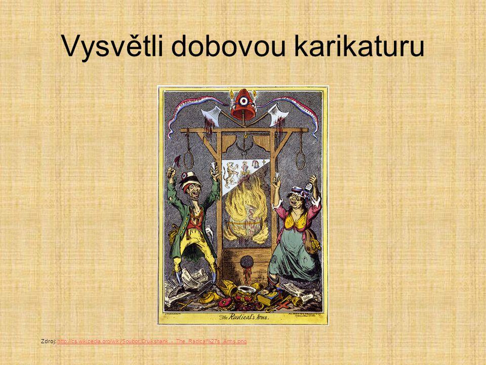 Vysvětli dobovou karikaturu Zdroj: http://cs.wikipedia.org/wiki/Soubor:Cruikshank_-_The_Radical%27s_Arms.pnghttp://cs.wikipedia.org/wiki/Soubor:Cruiks