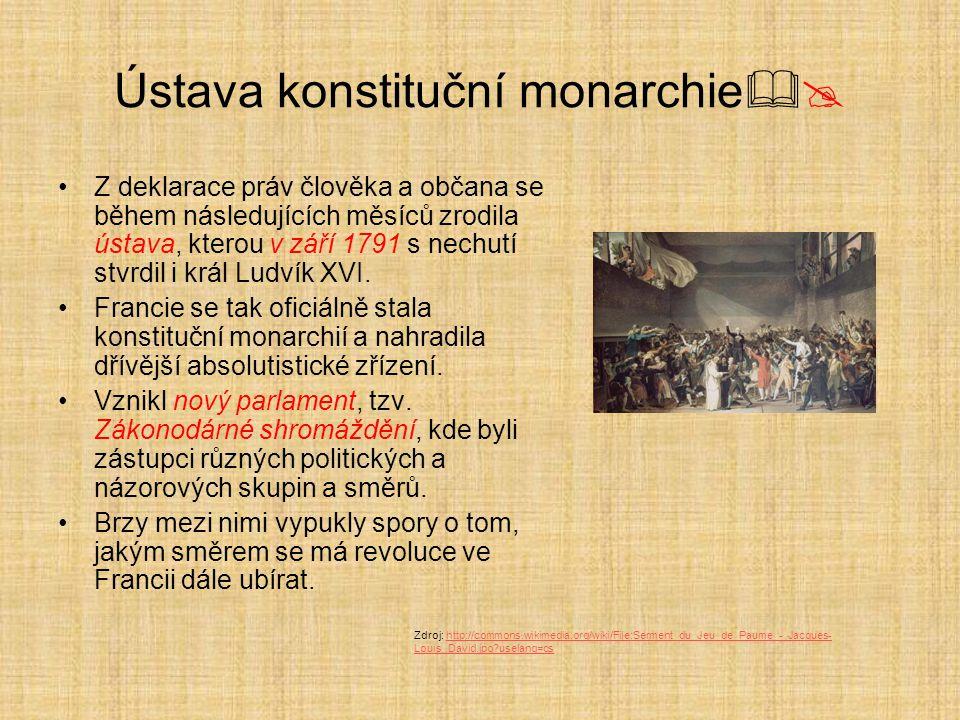 Ústava konstituční monarchie  Z deklarace práv člověka a občana se během následujících měsíců zrodila ústava, kterou v září 1791 s nechutí stvrdil i