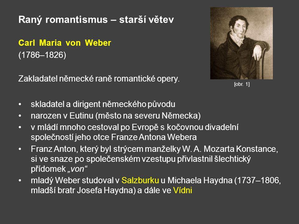 Raný romantismus – starší větev Carl Maria von Weber (1786–1826) Zakladatel německé raně romantické opery. skladatel a dirigent německého původu naroz
