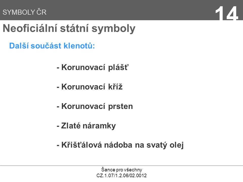 Šance pro všechny CZ.1.07/1.2.06/02.0012 14 Další součást klenotů: Neoficiální státní symboly - Korunovací plášť - Korunovací kříž - Korunovací prsten