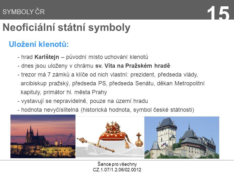 Šance pro všechny CZ.1.07/1.2.06/02.0012 15 Uložení klenotů: Neoficiální státní symboly - hrad Karlštejn – původní místo uchování klenotů - dnes jsou uloženy v chrámu sv.