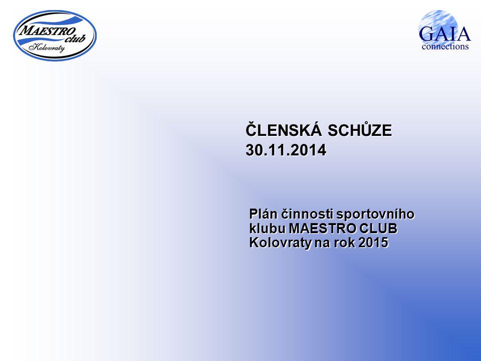 ČLENSKÁ SCHŮZE 30.11.2014 Plán činnosti sportovního klubu MAESTRO CLUB Kolovraty na rok 2015