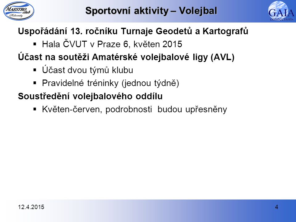 12.4.20154 Sportovní aktivity – Volejbal Uspořádání 13.