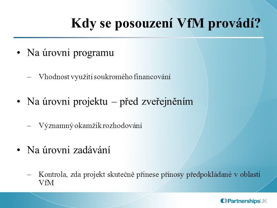 Model VfM - výzvy Načasování: nástroj rozhodování nebo ukazatel.