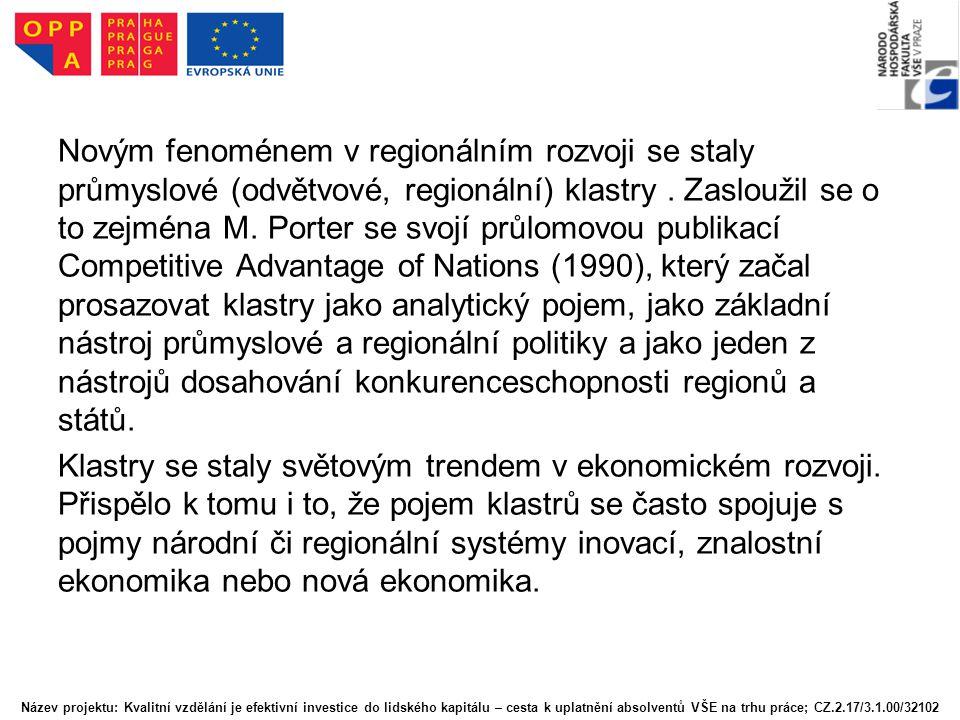 Novým fenoménem v regionálním rozvoji se staly průmyslové (odvětvové, regionální) klastry. Zasloužil se o to zejména M. Porter se svojí průlomovou pub