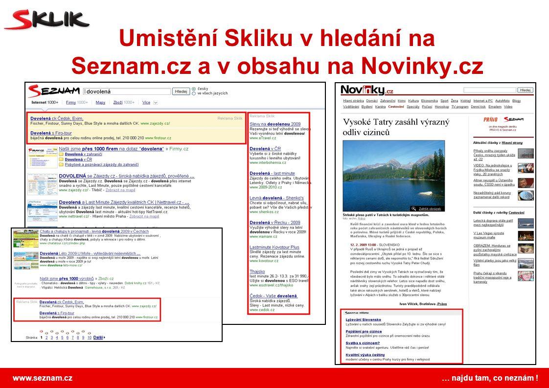 www.seznam.cz … najdu tam, co neznám ! Umistění Skliku v hledání na Seznam.cz a v obsahu na Novinky.cz dovolená