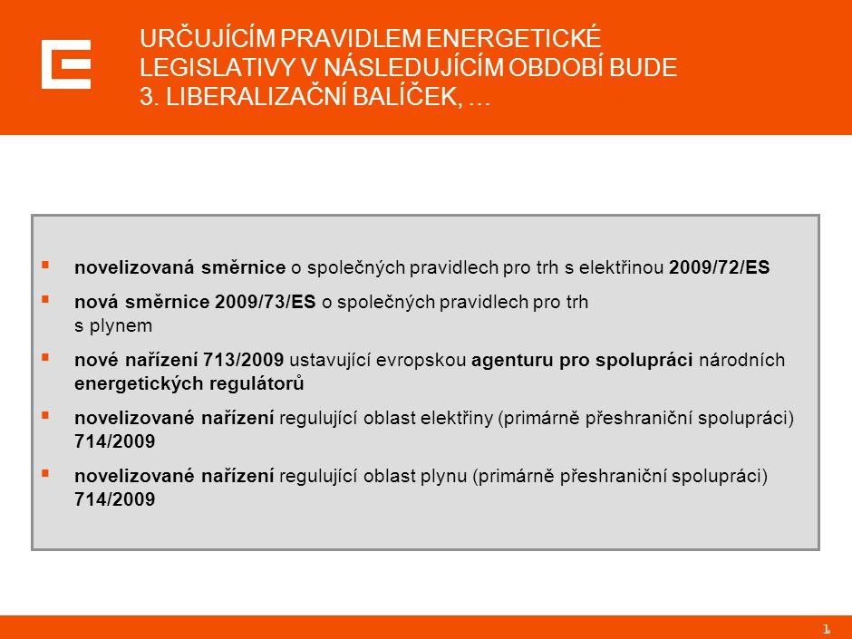1 URČUJÍCÍM PRAVIDLEM ENERGETICKÉ LEGISLATIVY V NÁSLEDUJÍCÍM OBDOBÍ BUDE 3. LIBERALIZAČNÍ BALÍČEK, …  novelizovaná směrnice o společných pravidlech p