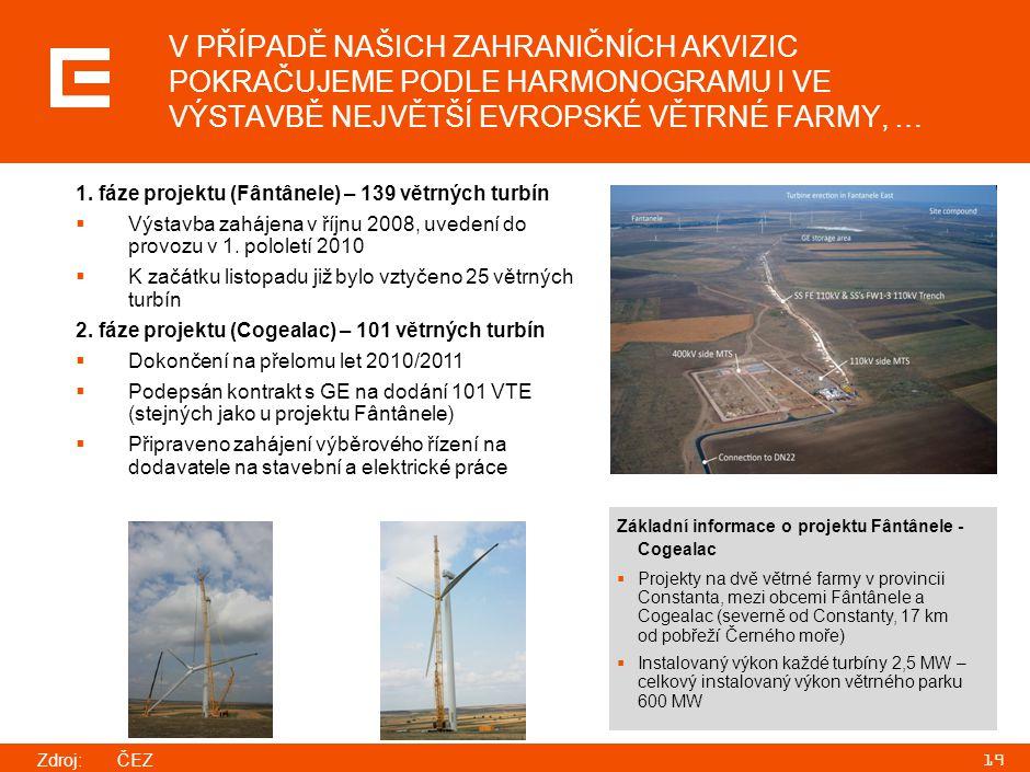 19 Základní informace o projektu Fântânele - Cogealac  Projekty na dvě větrné farmy v provincii Constanta, mezi obcemi Fântânele a Cogealac (severně