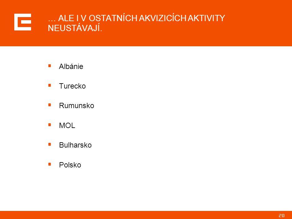 20 … ALE I V OSTATNÍCH AKVIZICÍCH AKTIVITY NEUSTÁVAJÍ.  Albánie  Turecko  Rumunsko  MOL  Bulharsko  Polsko