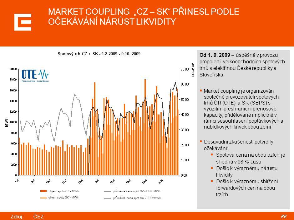 """22 MARKET COUPLING """"CZ – SK"""" PŘINESL PODLE OČEKÁVÁNÍ NÁRŮST LIKVIDITY Od 1. 9. 2009 – úspěšně v provozu propojení velkoobchodních spotových trhů s ele"""
