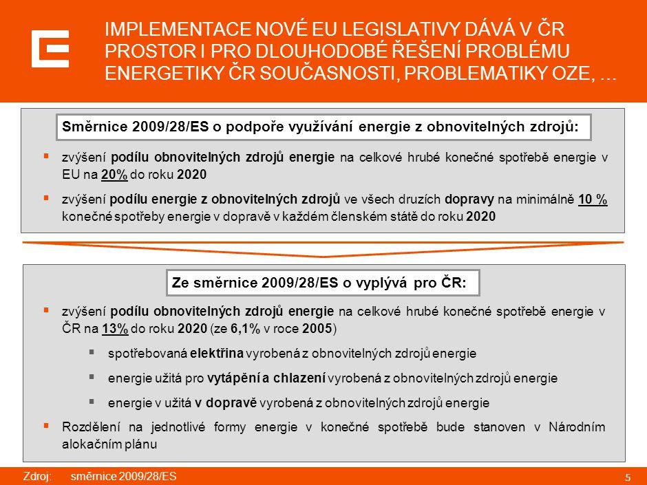 5 IMPLEMENTACE NOVÉ EU LEGISLATIVY DÁVÁ V ČR PROSTOR I PRO DLOUHODOBÉ ŘEŠENÍ PROBLÉMU ENERGETIKY ČR SOUČASNOSTI, PROBLEMATIKY OZE, …  zvýšení podílu