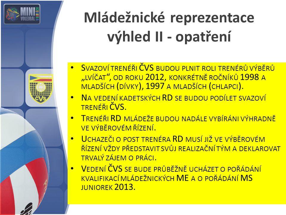 """S VAZOVÍ TRENÉŘI ČVS BUDOU PLNIT ROLI TRENÉRŮ VÝBĚRŮ """" LVÍČAT , OD ROKU 2012, KONKRÉTNĚ ROČNÍKŮ 1998 A MLADŠÍCH ( DÍVKY ), 1997 A MLADŠÍCH ( CHLAPCI )."""