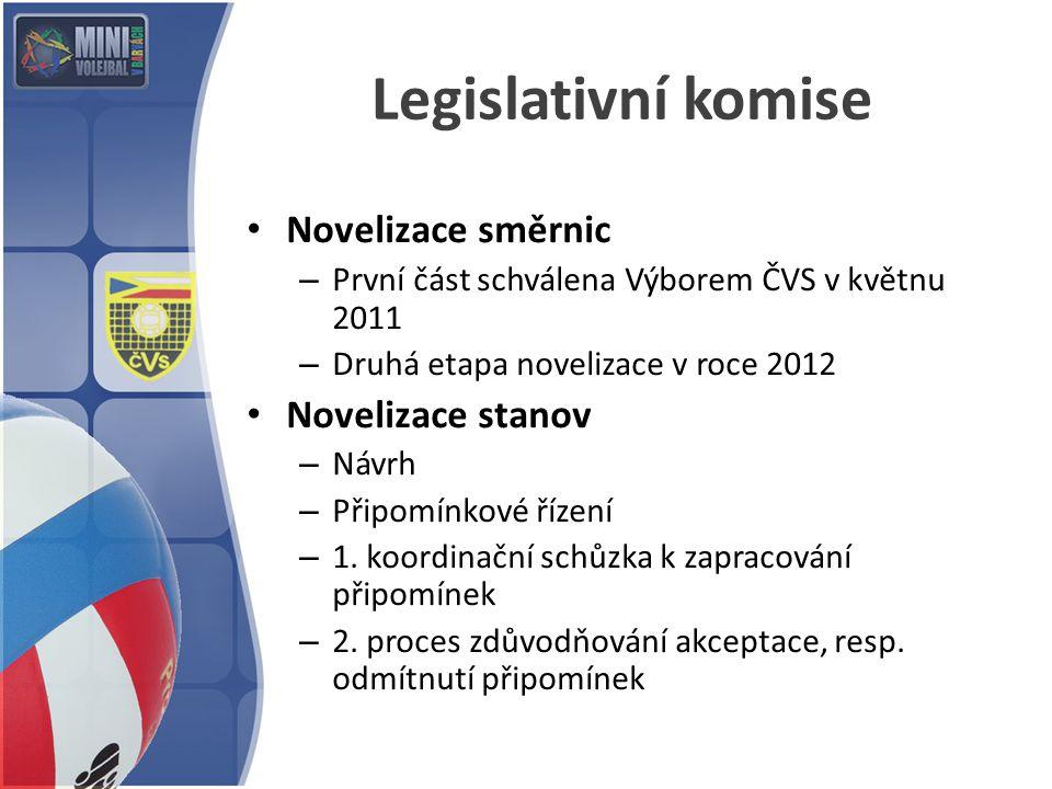 Legislativní komise Novelizace směrnic – První část schválena Výborem ČVS v květnu 2011 – Druhá etapa novelizace v roce 2012 Novelizace stanov – Návrh