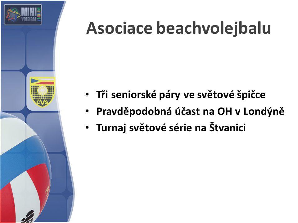 Asociace beachvolejbalu Tři seniorské páry ve světové špičce Pravděpodobná účast na OH v Londýně Turnaj světové série na Štvanici
