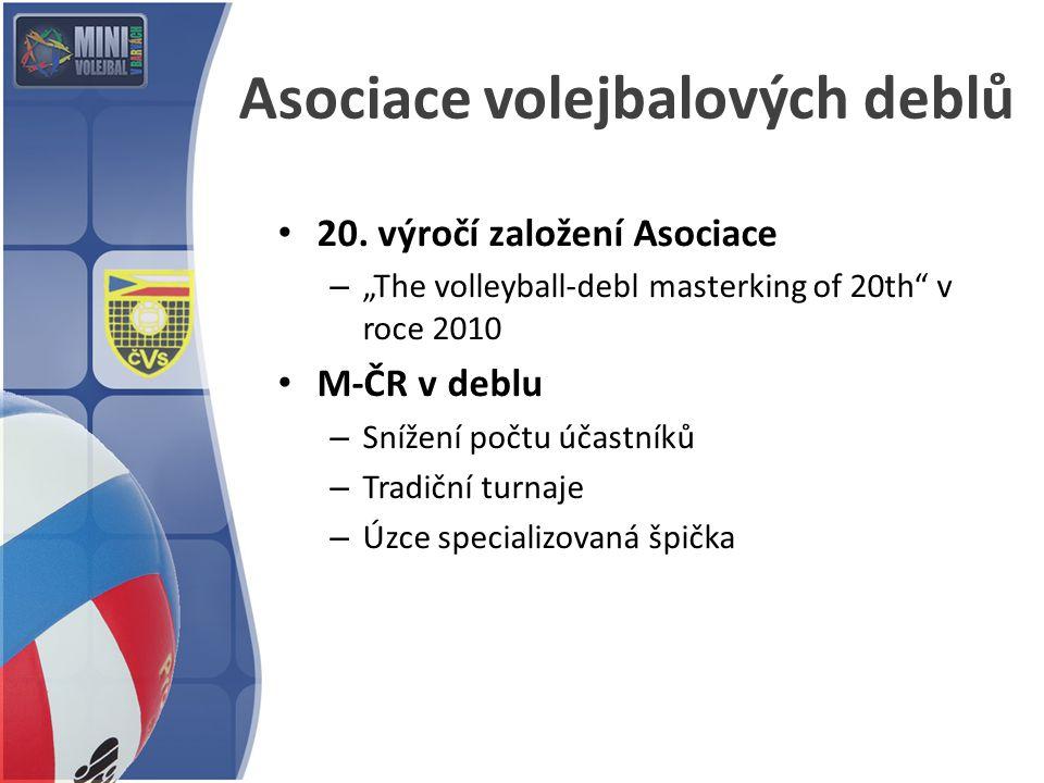 """Asociace volejbalových deblů 20. výročí založení Asociace – """"The volleyball-debl masterking of 20th"""" v roce 2010 M-ČR v deblu – Snížení počtu účastník"""