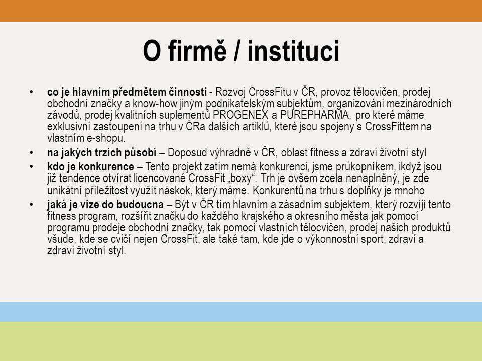O firmě / instituci co je hlavním předmětem činnosti - Rozvoj CrossFitu v ČR, provoz tělocvičen, prodej obchodní značky a know-how jiným podnikatelským subjektům, organizování mezinárodních závodů, prodej kvalitních suplementů PROGENEX a PUREPHARMA, pro které máme exklusivní zastoupení na trhu v ČRa dalších artiklů, které jsou spojeny s CrossFittem na vlastním e-shopu.