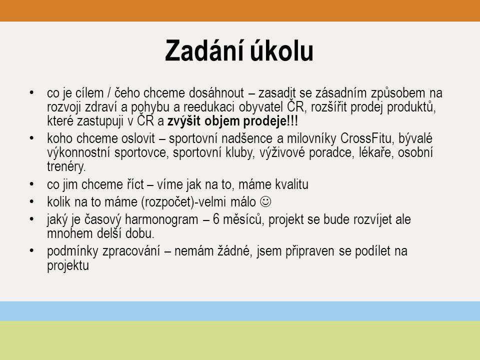 Zadání úkolu co je cílem / čeho chceme dosáhnout – zasadit se zásadním způsobem na rozvoji zdraví a pohybu a reedukaci obyvatel ČR, rozšířit prodej produktů, které zastupuji v ČR a zvýšit objem prodeje!!.