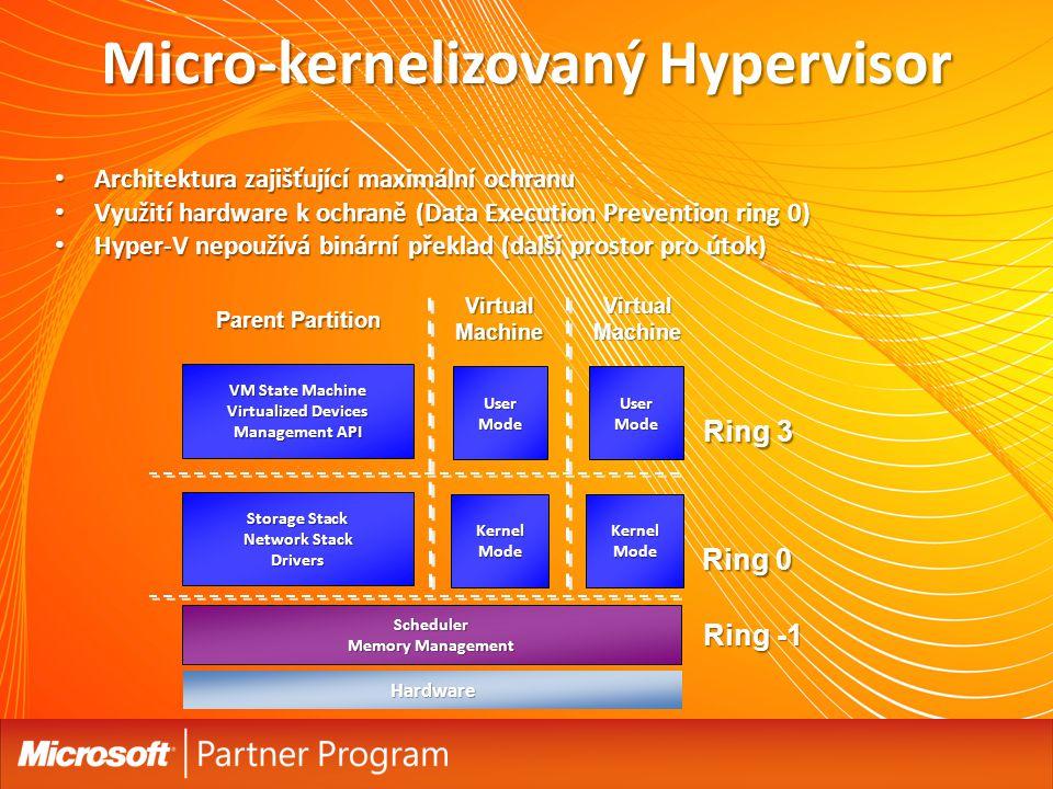 Micro-kernelizovaný Hypervisor Architektura zajišťující maximální ochranu Architektura zajišťující maximální ochranu Využití hardware k ochraně (Data Execution Prevention ring 0) Využití hardware k ochraně (Data Execution Prevention ring 0) Hyper-V nepoužívá binární překlad (další prostor pro útok) Hyper-V nepoužívá binární překlad (další prostor pro útok) Scheduler Memory Management Hardware VM State Machine Virtualized Devices Management API Ring -1 Storage Stack Network Stack Drivers UserMode KernelMode UserMode KernelMode Ring 0 Ring 3 Parent Partition VirtualMachineVirtualMachine