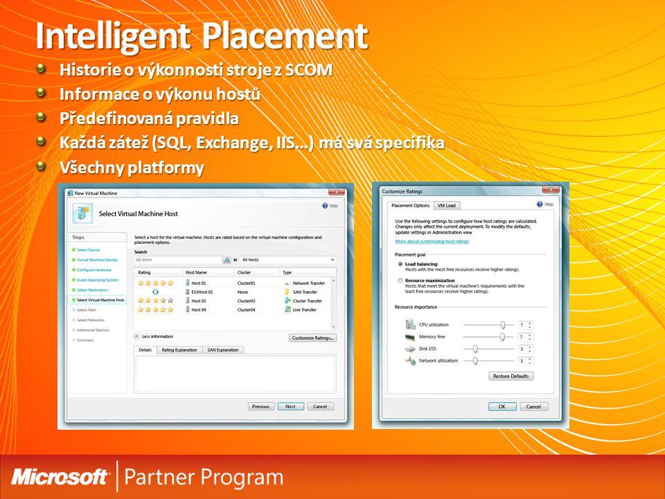 Intelligent Placement Historie o výkonnosti stroje z SCOM Informace o výkonu hostů Předefinovaná pravidla Každá zátež (SQL, Exchange, IIS…) má svá specifika Všechny platformy