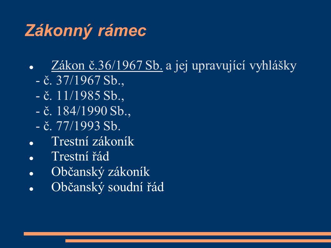 Zákonný rámec Zákon č.36/1967 Sb. a jej upravující vyhlášky - č. 37/1967 Sb., - č. 11/1985 Sb., - č. 184/1990 Sb., - č. 77/1993 Sb. Trestní zákoník Tr