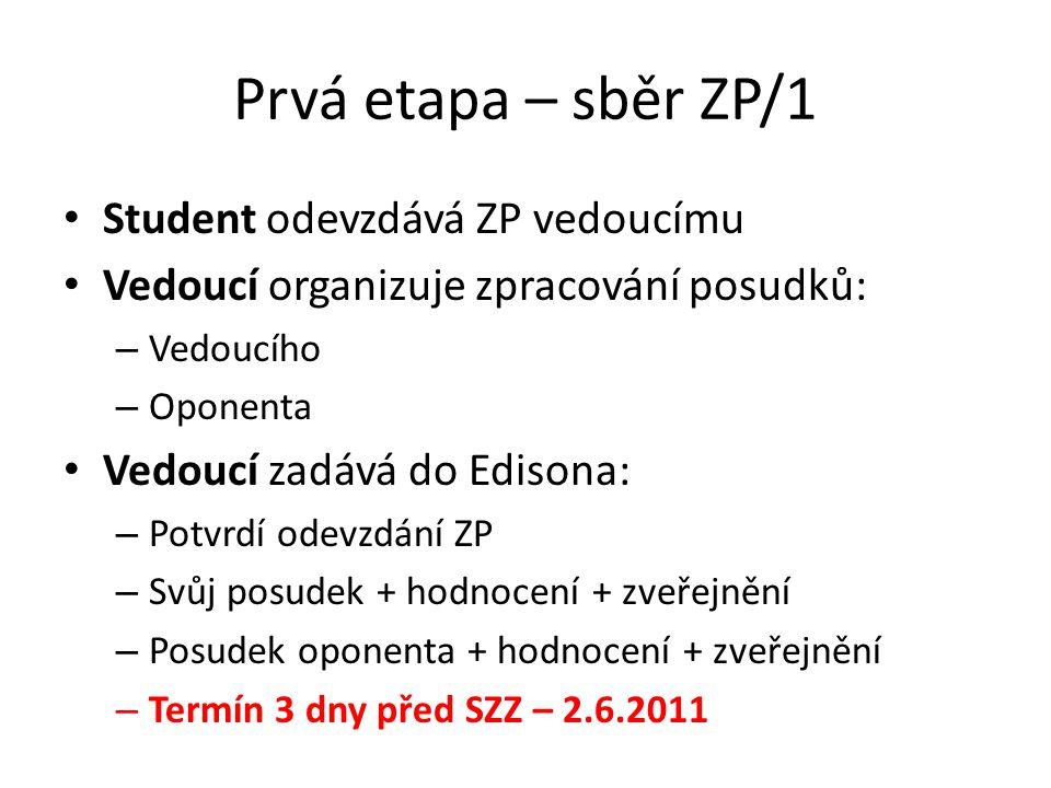 Prvá etapa – sběr ZP/1 Student odevzdává ZP vedoucímu Vedoucí organizuje zpracování posudků: – Vedoucího – Oponenta Vedoucí zadává do Edisona: – Potvr