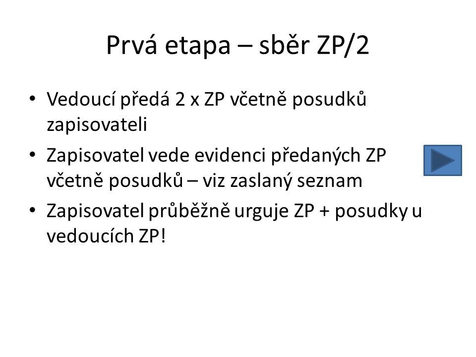 Prvá etapa – sběr ZP/2 Vedoucí předá 2 x ZP včetně posudků zapisovateli Zapisovatel vede evidenci předaných ZP včetně posudků – viz zaslaný seznam Zap