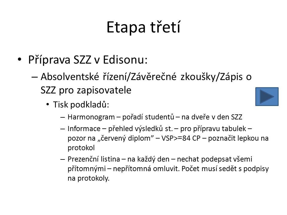 Etapa třetí Příprava SZZ v Edisonu: – Absolventské řízení/Závěrečné zkoušky/Zápis o SZZ pro zapisovatele Tisk podkladů: – Harmonogram – pořadí student