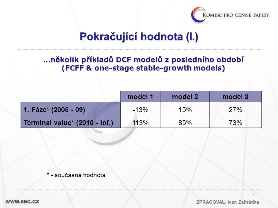 7 * - současná hodnota model 1model 2model 3 1.