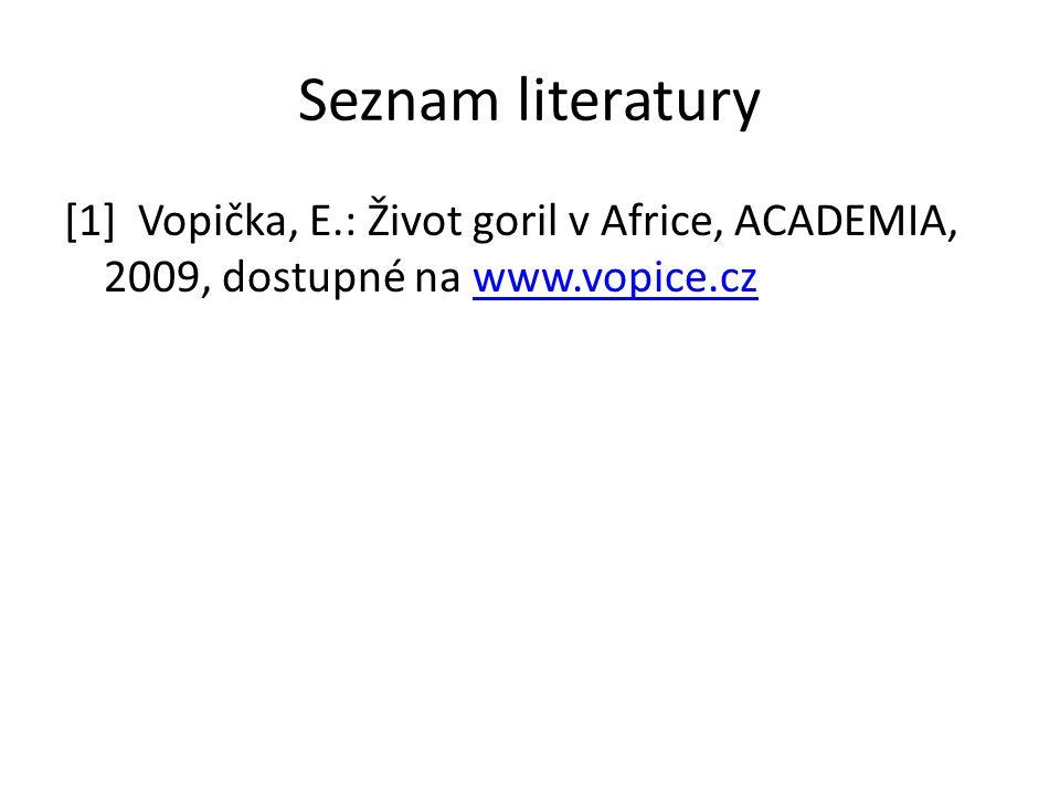 Seznam literatury [1] Vopička, E.: Život goril v Africe, ACADEMIA, 2009, dostupné na www.vopice.czwww.vopice.cz