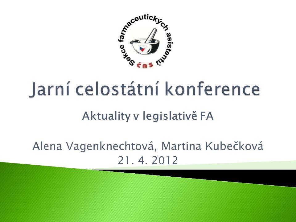 Aktuality v legislativě FA Alena V agenknechtová, Martina K ubečková 21. 4. 2012