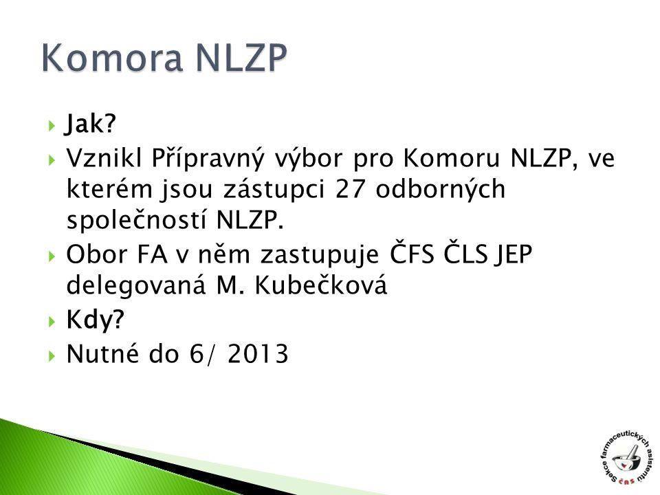  Jak?  Vznikl Přípravný výbor pro Komoru NLZP, ve kterém jsou zástupci 27 odborných společností NLZP.  Obor FA v něm zastupuje ČFS ČLS JEP delegova