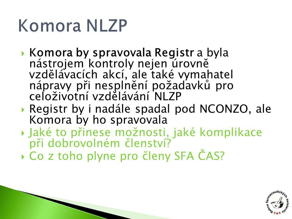  Komora by spravovala Registr a byla nástrojem kontroly nejen úrovně vzdělávacích akcí, ale také vymahatel nápravy při nesplnění požadavků pro celoživotní vzdělávání NLZP  Registr by i nadále spadal pod NCONZO, ale Komora by ho spravovala  Jaké to přinese možnosti, jaké komplikace při dobrovolném členství.