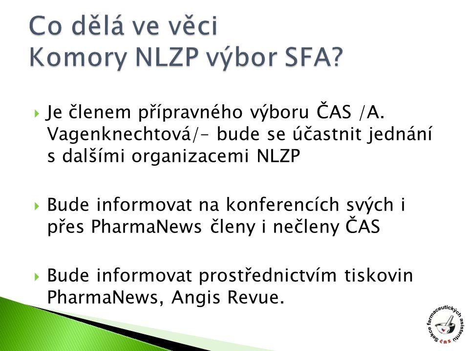  Je členem přípravného výboru ČAS /A. Vagenknechtová/– bude se účastnit jednání s dalšími organizacemi NLZP  Bude informovat na konferencích svých i