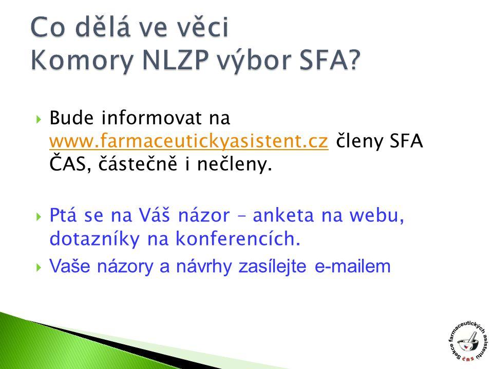  Bude informovat na www.farmaceutickyasistent.cz členy SFA ČAS, částečně i nečleny. www.farmaceutickyasistent.cz  Ptá se na Váš názor – anketa na we