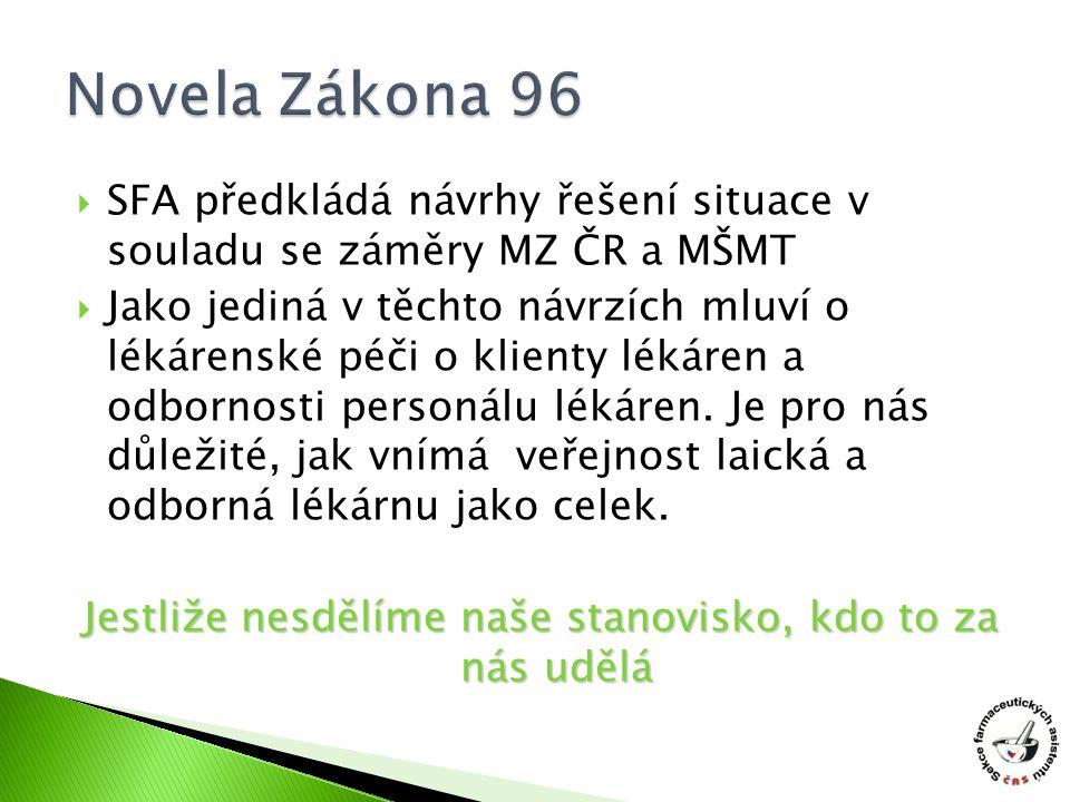  SFA předkládá návrhy řešení situace v souladu se záměry MZ ČR a MŠMT  Jako jediná v těchto návrzích mluví o lékárenské péči o klienty lékáren a odbornosti personálu lékáren.