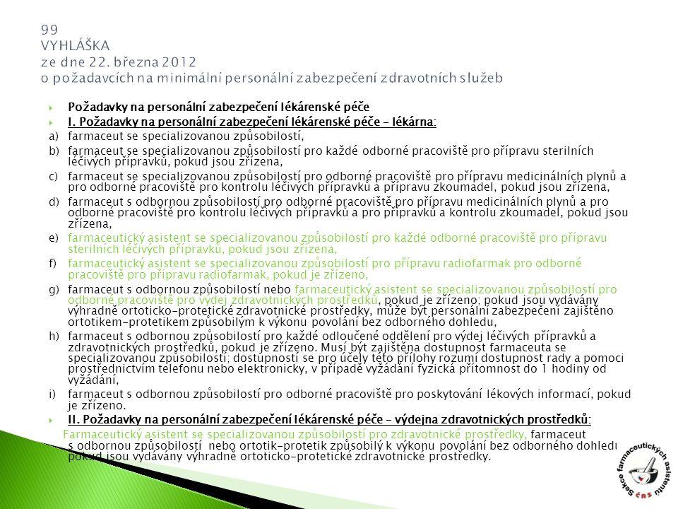  Požadavky na personální zabezpečení lékárenské péče  I. Požadavky na personální zabezpečení lékárenské péče – lékárna: a) farmaceut se specializova